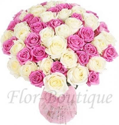 Букет из 51 белой и розовой розы (стандарт)
