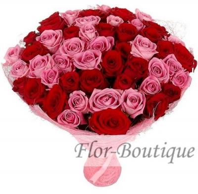 Букет из 51 красной и розовой розы (стандарт)