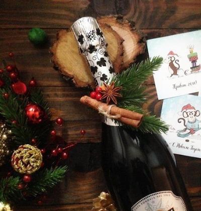 Оформление бутылки шампанского (на фото пример)
