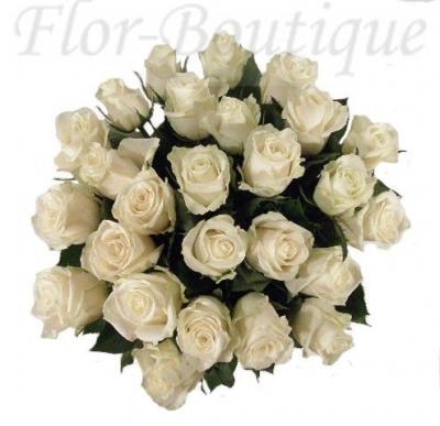 Букет из 25 белых роз (премиум)