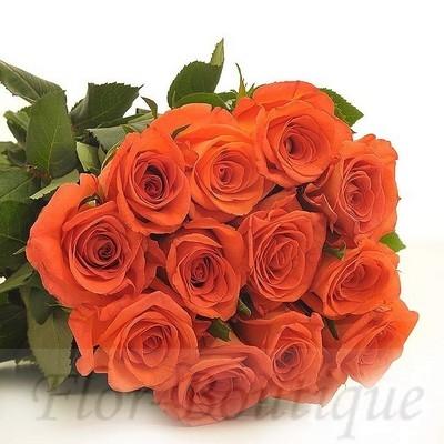 Букет из 11 оранжевых роз (премиум)