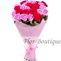 Букет из 25 красных и розовых роз (премиум)