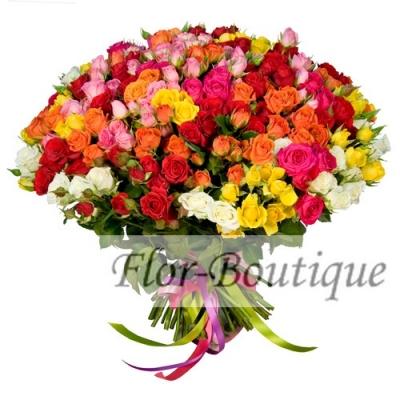 Букет из 101 кустовой розы (микс)