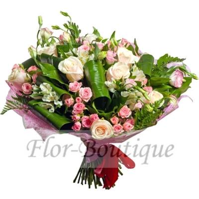 Букет с кустовыми розами. Доставка цветов Хабаровск.