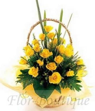Композиция из жёлтых роз.