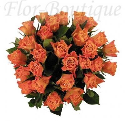 Букет из 25 оранжевых роз 50 см