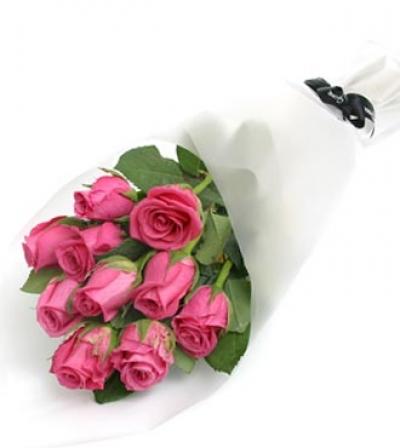 Букет из 11 розовых роз 50 см