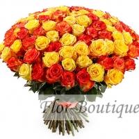 АКЦИЯ! Букет из 101 желтой и оранжевой розы