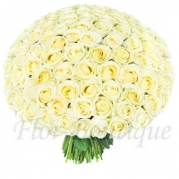 Букет из 101 белой розы 50 см