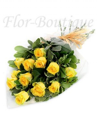 Букет из 11 желтых роз 50 см